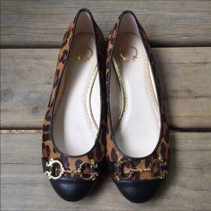 C Wonder leopard print calf hair flats